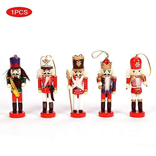 waterfaill Weihnachten Nussknacker Ornament Set, 5PCS Retro Cartoon Nussknacker Puppe Anhänger für Weihnachtsbaum Dekoration, Holz Nussknacker Figuren Soldat Puppenspielzeug