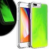 VenSen Liquid Fluorescent Case for Apple iPhone 7plus / iPhone 8plus 5.5 inch Soft TPU Luxury Glow in The Darkness Noctiluncen Luminous Neon Sand case 7 Plus / 8 Plus (Green)