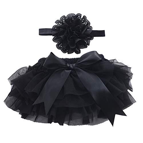 bestoyard Baby Rock Tutu Ropa con flores cinta niña recién nacido Disfraz Fotografía accesorios (Negro), Negro , medium