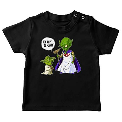 T-Shirt bébé Noir Parodie Dragon Ball Z - Star Wars - Yoda et Le Tout Puissant - Ton père, Je suis. !! (T-Shirt de qualité Premium de Taille 6 Mois - imprimé en France)
