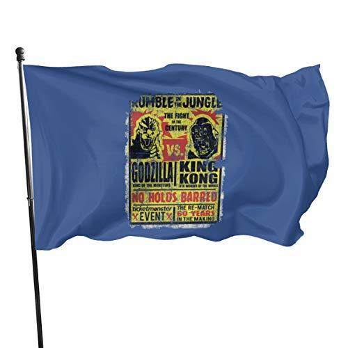 N/ Banderas de poliéster con diseño de Bandera Godzilla contra King Kong, 3 x 5 Pulgadas, poliéster, Negro, Talla única