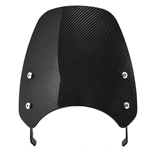 Deflector Moto Pantalla del escudo del parabrisas del parabrisas del parabrisas delantero delantero de la moto con el soporte de montaje Parabrisas Moto (Color : Carbon Fiber Look)