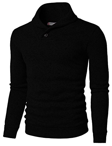 H2H Mens Knited Slim Fit Pullover Sweater Shawl Collar with One Button Point Black US L/Asia XL (KMOSWL036)