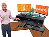 Flexpro Power 40 Inch Electric Corner Desk | 2 Level Standing Desk Converter with Quiet Height Adjustments | Large Dual Level Sit to Stand Workspace | Great for Cubicles! (Corner / 40')