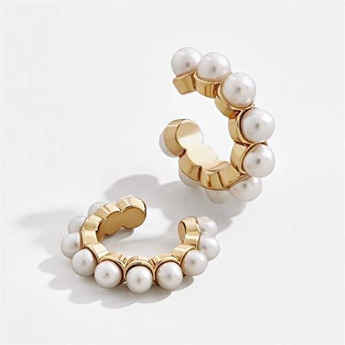 DHDHWL Pendientes El Oro clásico del Color del oído Pendientes de Clip C-Redonda de la Manera Brazalete for Las Mujeres Chica (Color : A)