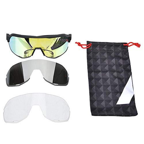 Keenso Schutzbrille Schutzbrille Goggle Block 100% UVA-, UVB- und UVC-Schutzbrille für den Außenbereich(Schwarz + gelb)