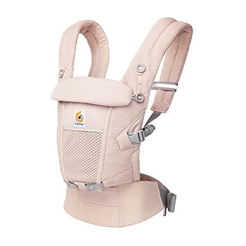 Ergobaby Adapt Babytrage für Neugeborene ab Geburt, 3-Positionen SoftFlex Mesh Ergonomische Babybauchtrage Rückentrage Baby-Tragetasche, Pink Quartz