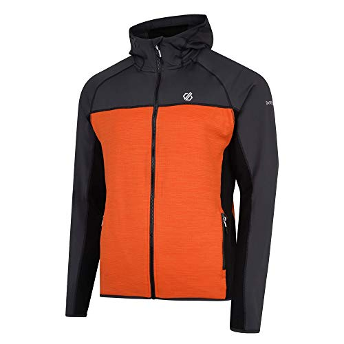Dare 2B Ratified Core Stretch Lightweight Quick Drying Full Zip Top, Strato Intermedio Uomo, Ebony Grey/Clementine, XXL
