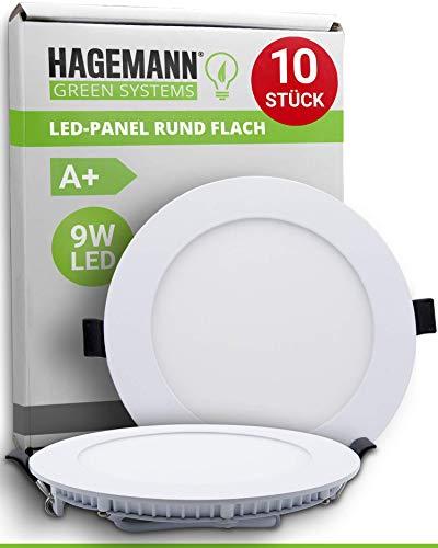 HAGEMANN® 10 x LED Panel rund 9 Watt 810lm – Ø 135mm Bohrloch – flach 230V LED Spots Deckenleuchte