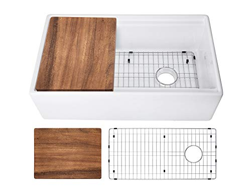 33-in White Fireclay Single Bowl Apron Front Reversible Kitchen Sink with Ledge, Walnut Wood Cutting Board and Stainless Steel Grid