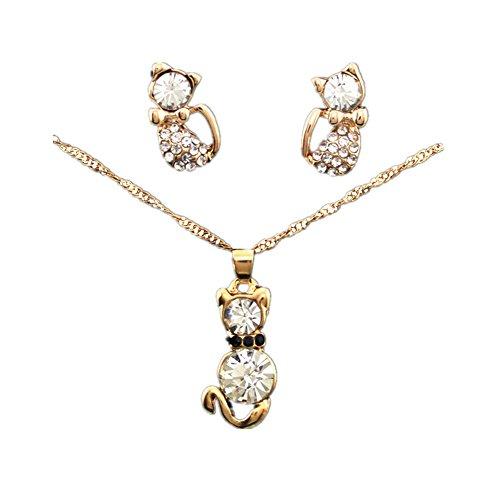 Joyfeel - Juego de 2 collares y pendientes para mujer, diseño de gato pequeño, color dorado y blanco