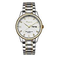 ZHANGZZ高級時計CHAOYADA腕時計, メンズ腕時計ソリッドスチールバンドカレンダークォーツ時計 (Color : 2)