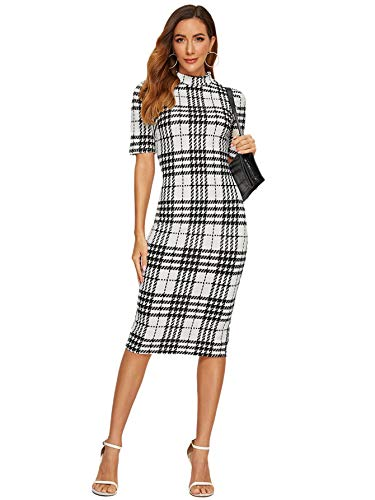 SheIn Women's Short Sleeve Elegant Sheath Pencil Dress Large White Grid