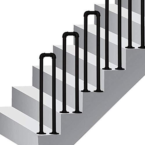 Barandilla de la escalera 1 Pasamanos paso for cemento al aire libre medidas concretas, en forma de U Escaleras Barandilla Pasamanos for ancianos Negro Niños metal Baranda de hierro forjado externa