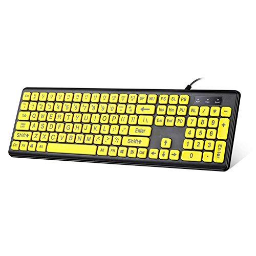 Computer Tastatur USB verdrahtete Schwarze Tastatur Große Buchstaben, die gelbe Knopftastatur für ältere und sehbehinderte Menschen drucken Verdrahtete Tastatur