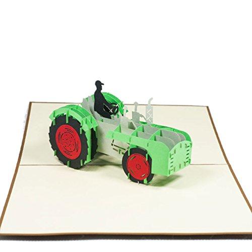 Favour Pop Up Grusskarte. Ein filigranes Kunstwerk, dass sich beim Öffnen als Traktor entfaltet. TF064
