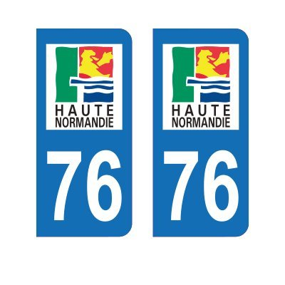Zone-Stickers 2 Autocollants Plaque Immatriculation 76 Haute-Normandie Seine-Maritime - Arrondis