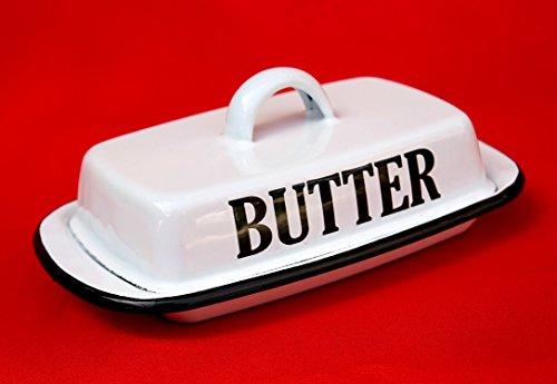 Ambiente Haus Retro Butterdose 51230 Emaille Weiß Butterschale Vintage Butterglocke emailliert