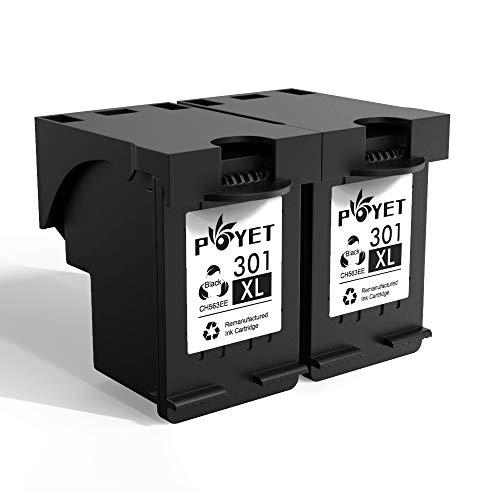 Poyet 301XL Remanufacturado Cartucho de Tinta Reemplazo para HP 301XL HP301 XL HP 301 Negro Alto Rendimiento Compatible con HP Envy 4500 4502 4504 HP Deskjet 1000 1010 1050 2000 2050 (2 Negro)