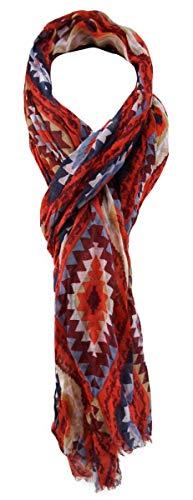 TigerTie Designer sjaal in rood bloedoranje bordeaux blauw grijs bruin patroon - Gr. 180 x 50 cm.