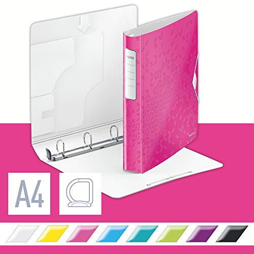 Leitz 42400023 Ringbuch Active WOW, A4, Polyfoam, 4 Ringe, 30 mm, pink