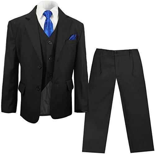 Paul Malone - festlicher Jungen Anzug für Kinder schwarz Kinderanzug Set 6tlg (tailliert) / Hochzeit Kommunion Taufe 16
