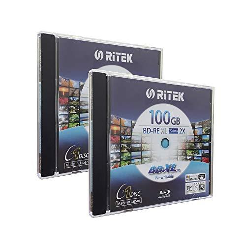 2 Pack Ritek BD-RE XL Rewritable BDXL 100GB Triple Layers 2X White Inkjet Hub Printable Blank Disc