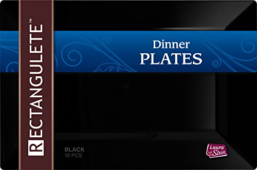 [20 Count - 13.5 Inch Plates] Rectangulete Designer Tableware Premium Heavyweight Plastic Black Rectangle Dinner Plates With Border, Party & Wedding, Event Plate, Disposable Dishes