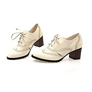 Donna Scarpe Oxford Brogue Stringate Scarpe Vintage in Pelle Artificiale Stringate Basse Casual Scarpe Classic College…