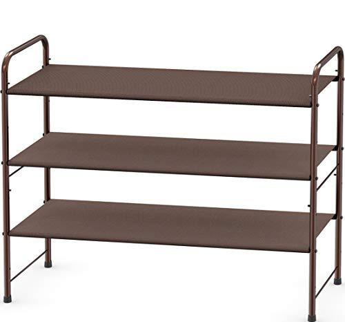 Simple Houseware 3-Tier Shoe Rack Storage Organizer 12-Pair / 20-Pair, Bronze