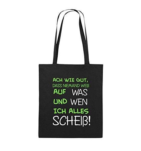 Comedy Bags - ACH wie gut, DASS niemand weiß, auf was und Wen ich Alles scheiß! - Jutebeutel - Lange Henkel - 38x42cm - Farbe: Schwarz/Weiss-Neongrün