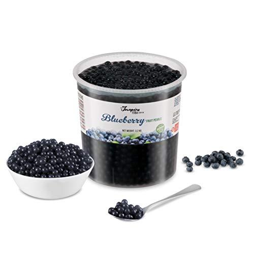POPPING BOBA – Sferette alla frutta per Bubble Tea, alla mirtillo, nessun colorante artificiale, basso contenuto di zucchero, succo di frutta vero, 100% vegan e senza glutine, confezione da 3,2kg