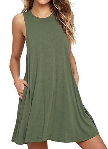 HAOMEILI Women's Sleeveless Pockets Casual Swing T-Shirt Summer Dresses S Army Green