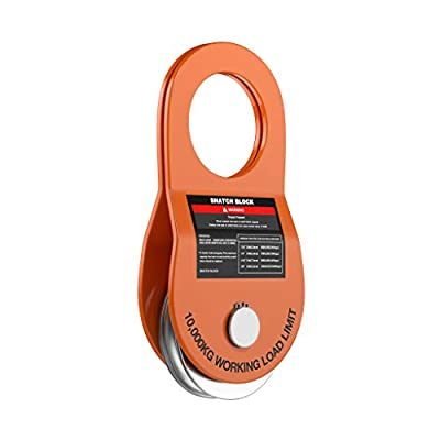 Ayleid Recovery Winch Snatch Block Towing Pulley Blocks 22,000 LB. 10T Capacity Off-Road Recovery Accessory for Truck, Tractor, ATV & UTV(Orange)