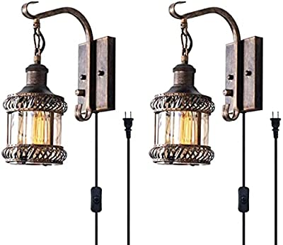 Retro Wall Light Fixtures, 2-in-1 Antique Bronze Vintage Wall Lighting Hardwired Plug in Industrial Lantern Retro Lamp Metal Wall Sconce for Bedside Bedroom Home Dining Room(2 Pack)
