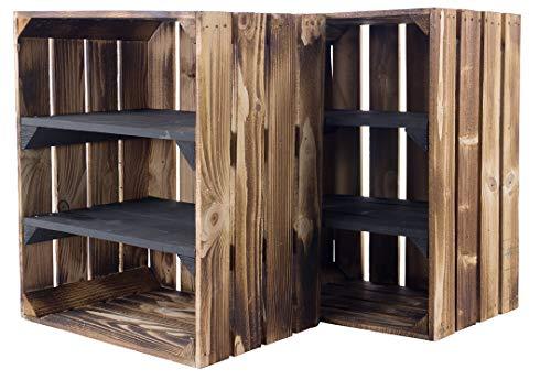 moooble Sparpaket geflammte/flammbierte Holzkiste mit 2 Mittelbrettern Quer Schwarz 50cm x 40cm x 30cm Kiste Schuhregal(2er Set)