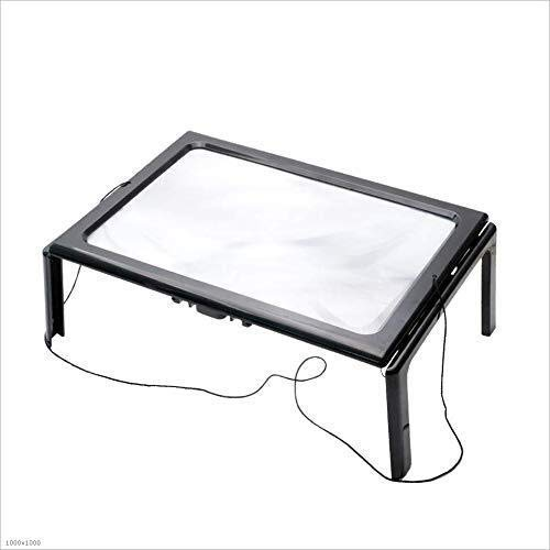Boutique förstoringsglasBärbart skrivbordsförstoringsglas, fyrkantigt vikbart A4-skrivbord 10 x HD handhållen bärbart förstoringsglas läsning gammal man som läser en tidning med LED-lampor förstoringsglas reparation/produkt Co