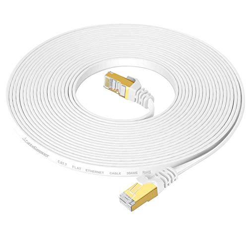 PORTHOLIC Cable Ethernet blindado Cat7 de 25 pies Blanco (Cable de máxima Velocidad) Cable de Red de Internet Plano sin Enganche RJ45 Conector Módem, Router, LAN, Ordenador