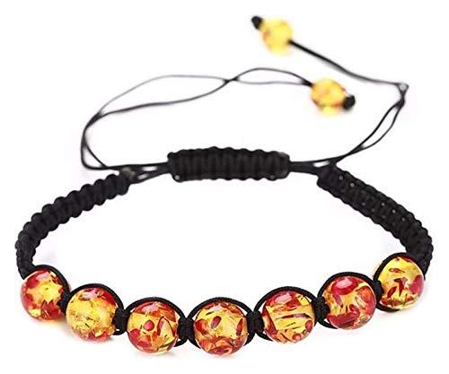 Pulsera de piedra Pulsera de piedra Mujer, 7 chakra perlas de piedra natural ámbar Ajustable Brazalete Brazaly Joyería Pulseras Amarillas Yoga Energía Ora Difusor de encanto Decoración de joyas