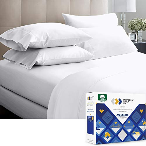 1000ThreadCount 100% Pure Cotton Bed Sheets on Amazon 4 Pc Queen Size White Sheet Set  Single Ply Extra Long Staple Combed Cotton Yarns Best Luxury Sateen Weave Fits Mattress 16#039#039 Deep Pocket