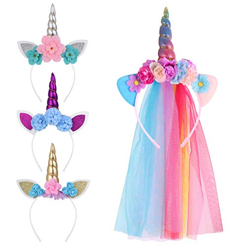 Lurrose Einhorn Haarreif Unicorn Horn Stirnband mit Ohren, Regenbogen Bunt Tüll hüte kindergeburtstag deko Einhorn party kostüm für Ostern Geburtstag Birthday Party,4 Stück