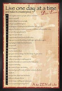 1art1 Budismo Póster con Marco (Madera DM) - Dalai Lama, A To Zen (91 x 61cm)
