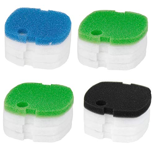 AQUANEAT 16pcs Aquarium Compatible Canister Filter Pads for SUNSUN/GRECH/Super HW-302 CF300 Polar Aurora Filter Pads Replacement Filter Media Sponge Floss (4 Coarse+ 12 Fine)