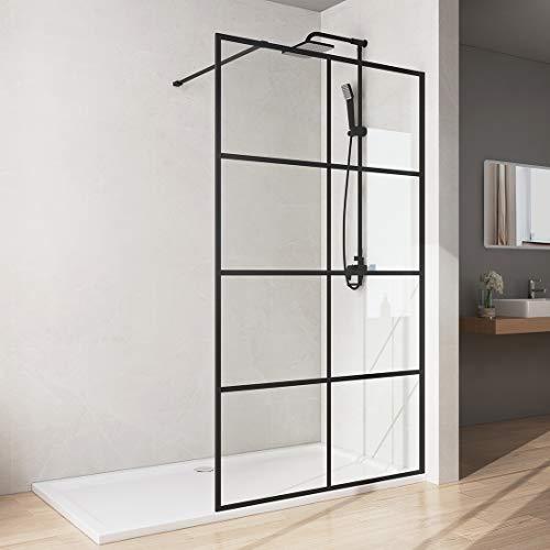 Bath-mann Duschwand Glas Duschabtrennung 90 x 200 cm Walk-in Dusche Duschkabine mit Stabilisator aus Echtglas 8mm ESG-Sicherheitsglas Klarglas Nanobeschichtung, Höhe: 200cm - Schwarzes Fenster