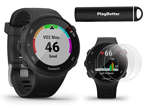 Garmin Forerunner 45S (Black, Small) Running GPS Watch Power Bundle | +HD Screen Protectors & PlayBetter Portable Charger | Garmin Coach, Lightweight, Heart Rate, Body Battery, Smart Notifications
