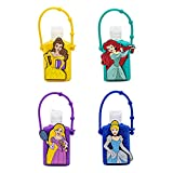 Dream Big Princess Hand Sanitizer Holder with 1oz Flip Cap Bottle - Combo 4 Pack - (White Citrus, 1 oz Sanitizer Gel)