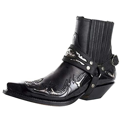 BAOFUBA Herren Motorradstiefel Retro Cowboy Stiefel Square Toe Cowboy Kurze Stiefel Horse Stiefel Biker Boots Wasserdicht Sport Low Boots Sneakers Reitstiefel Einsatzstiefel Schwarz
