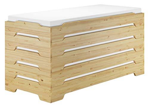 Erst-Holz® Extra niedriges stabiles Stapelbett in kompakter Form 80x190 Massivholz Kiefer V-60.41-08-190, Ausstattung:Rollrost und Matratzen inkl.