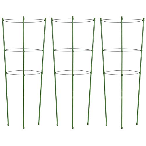 ZJIA 3 Pack Plant Support Cages Tomato Cages and Supports with Adjustable Rings (18 inch)