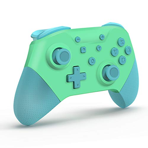 [2021 Newest Version] SHINEZONE Wireless Pro Controller for Nintendo Switch, HD Vibration/Gyro Sensor/Turbo Continuous Fire Function/NFC Function for Nintendo Switch Console(Blue&Green)